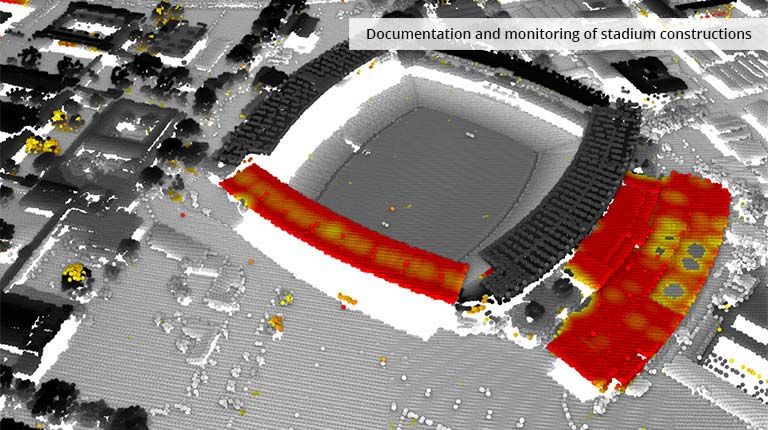 pointcloudtechnology-documentation and monitoring of stadium constructions