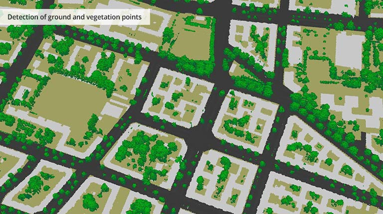 pointcloudtechnology-detection of ground and vegetation points