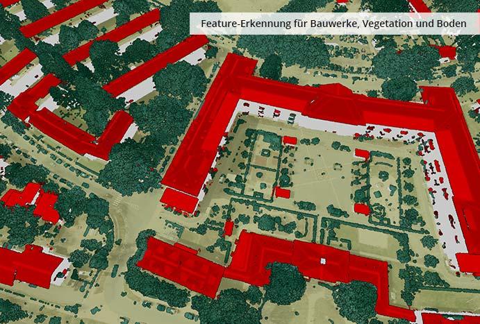 pointcloudtechnology-feature-erkennung für bauwerke, vegetation und boden