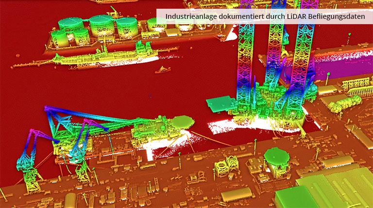pointcloudtechnology-industrieanlage dokumentiert durch lidar befliegungsdaten