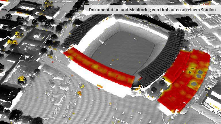 pointcloudtechnology-dokumentation und monitoring von umbauten an einem stadion